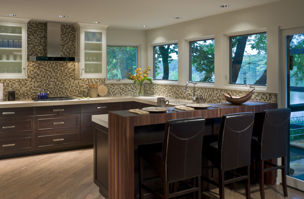 Waterfall Countertop in walnut by Grothouse. Design by Past Basket Design.